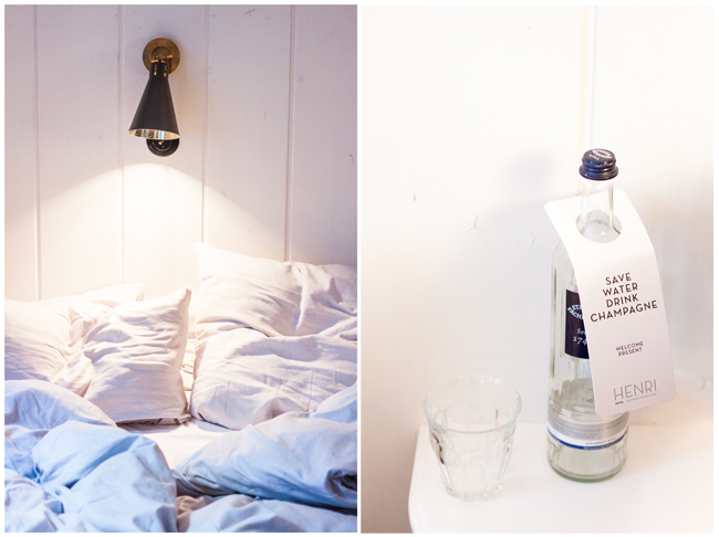 Hotelbett-verwuschelt-Wasserflasche-