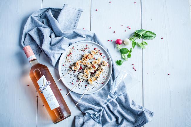 Blanchet Rosé de France dazu Hähnchenspieße vom Grill