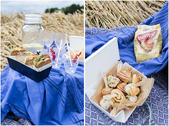 Picknick im Weizenfeld - Sandwiches und Zimtschnecken der pefekte Snack