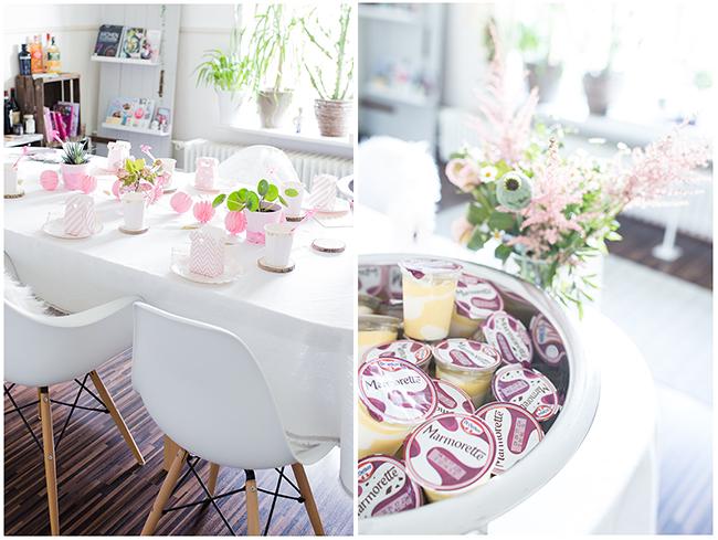 Collage - Esszimertisch in weiß Rosa eingedeckt und eine silberfarbene Bowl mit Marmorette Pudding auf Eis