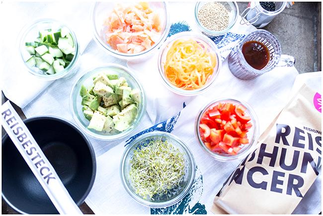 Zutatenvielfalt für eine Sushibowl