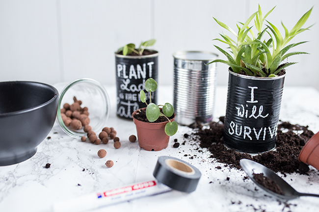 Plantlover Upcycling Dose mit Chalkboardtape