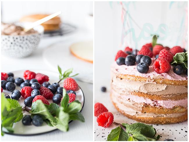 Neked Cake Himbeer Schoko mit Beeren