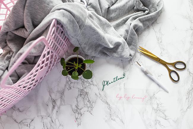 Flatlay Mamor - DIY Plantlover Pulli Schriftzug Plantlover