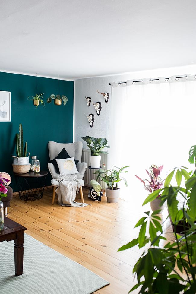 Urabanjungle Wohnzimmer hafenmaedchen Wandfarbe Grün
