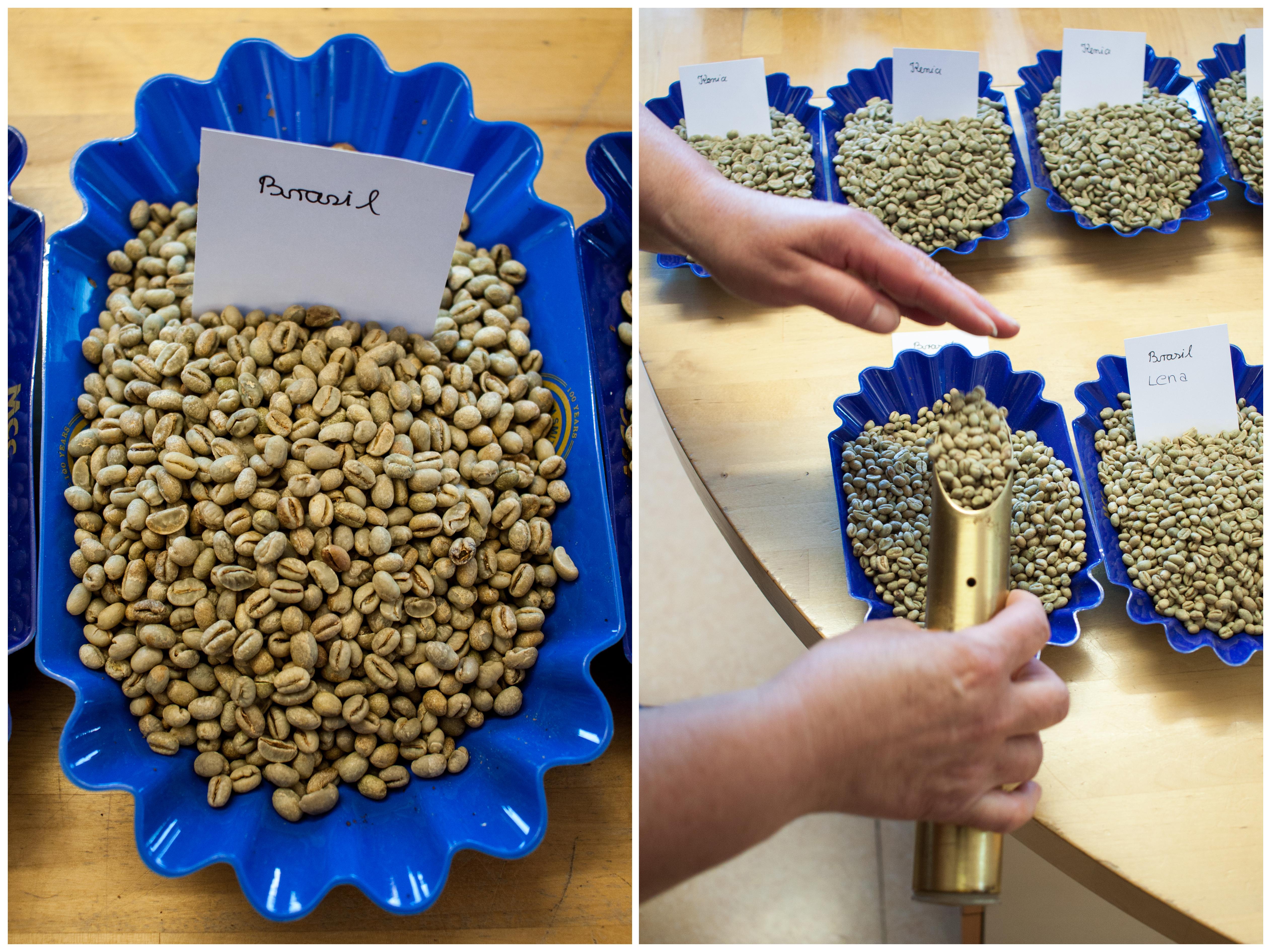Kaffeebohnen vor dem roesten