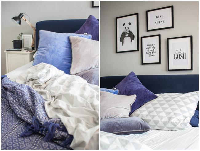 Boxspringbett-IKEA-blauweiß