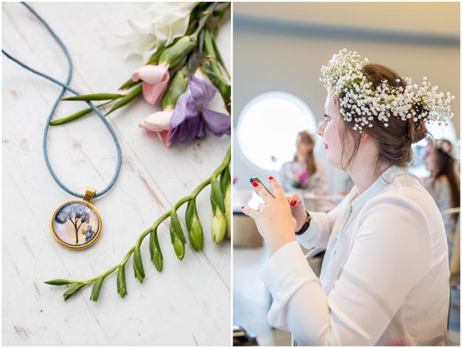 Schmuck aus getrockneten Blumen und Blumenkranz fürs Haar
