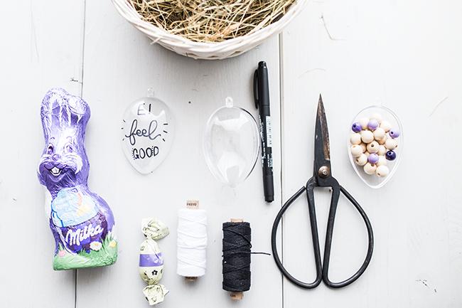DIY Osterkörbchen aus Acryleiern Zutaten