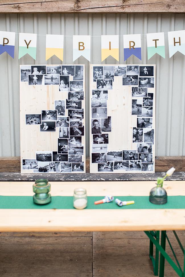 Kinderfotos zum Geburtstag in Zahlenform mit Sprühkleber auf Holz gebabracht