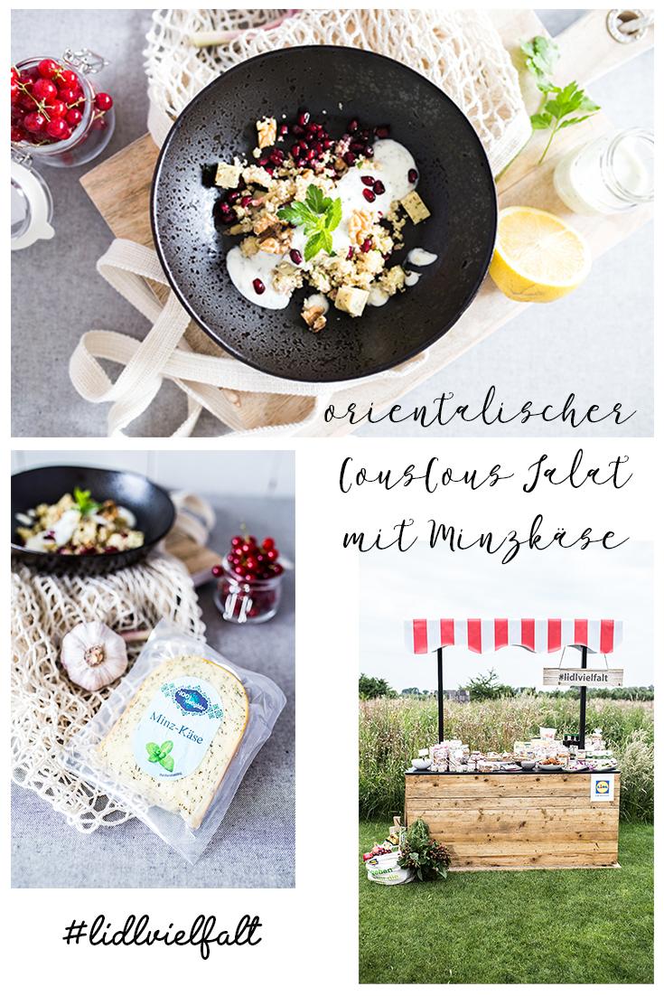 Collage orientalischer CousCous Salat mit Minzkäse
