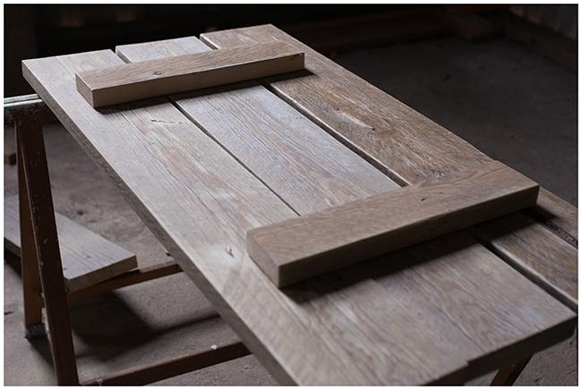 DIY Couchttisch aus Gerüstbohlen - Anordnung der Bretter