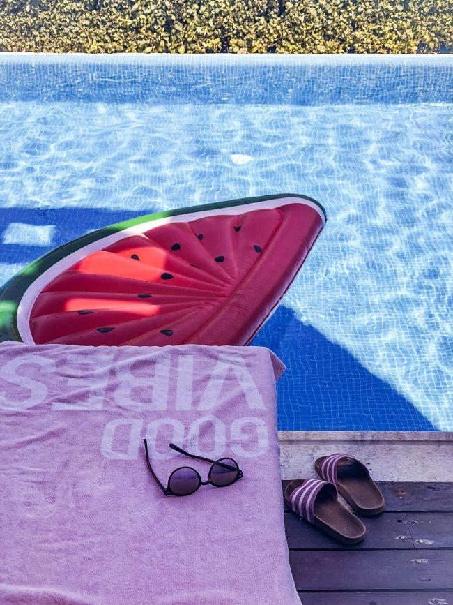 Pool MelonenLuftmatratze Badetuch Good Vibes