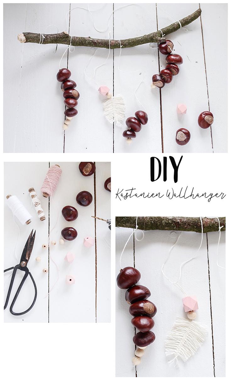 DIY Kastanien Wallhanger - ein schönes Herbst DIY mit Kastanien, Perlen und Federn auch für Erwachsene