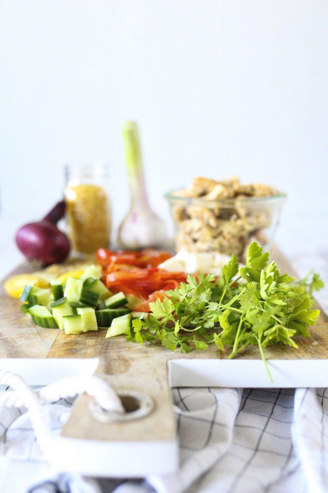 Sommersalat Gyrossalat- Zutaten für den Sommersalat