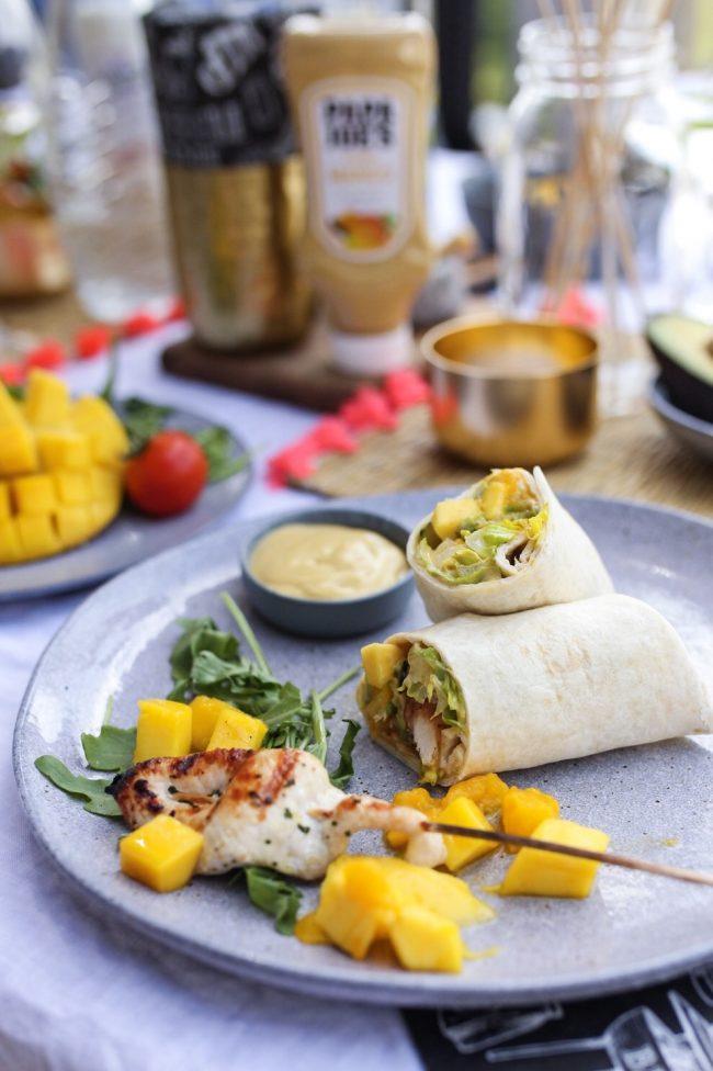 Grillrezept - Hähnchen Mango Wraps mit Avocado