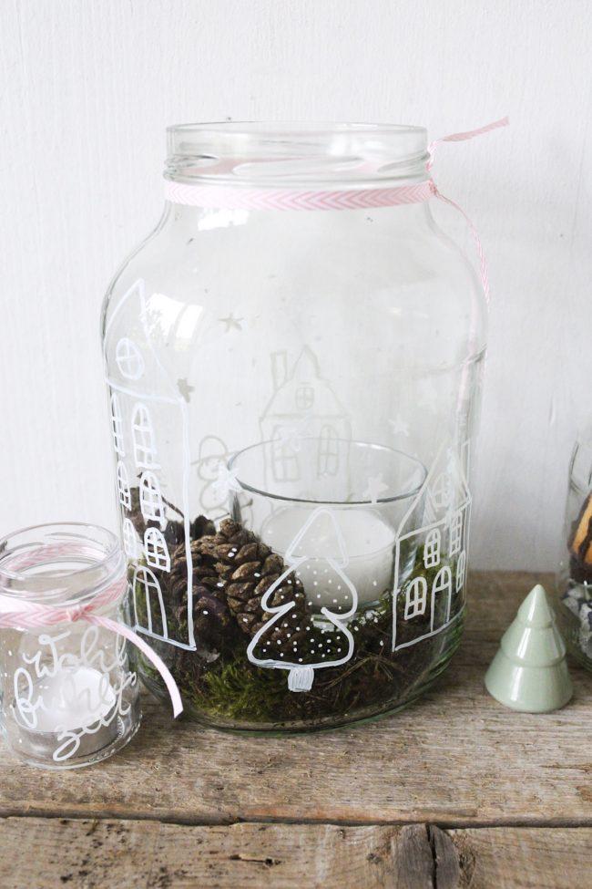 DIY Kerzengläser- Lettering auf Altglas