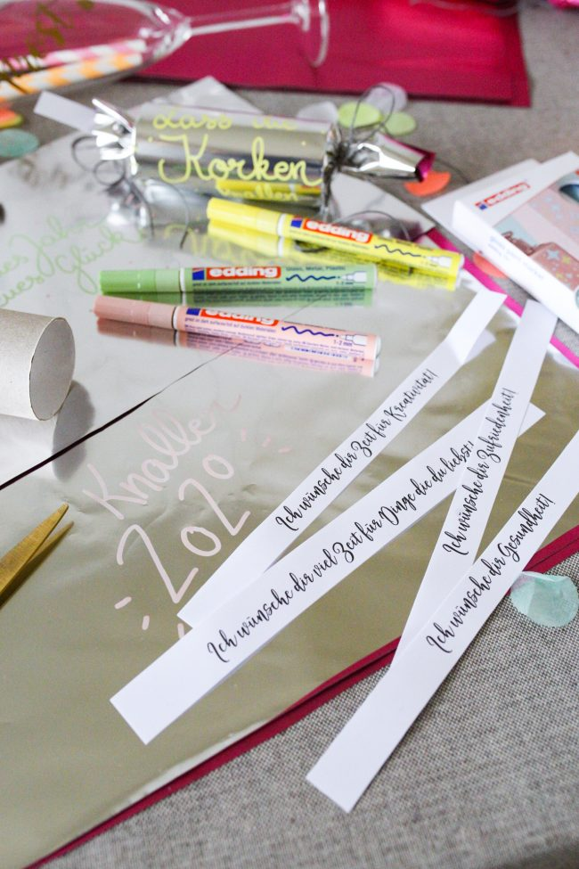 DIY Knallbonbons mit edding Glanzlackmarker Neujahrswünsche