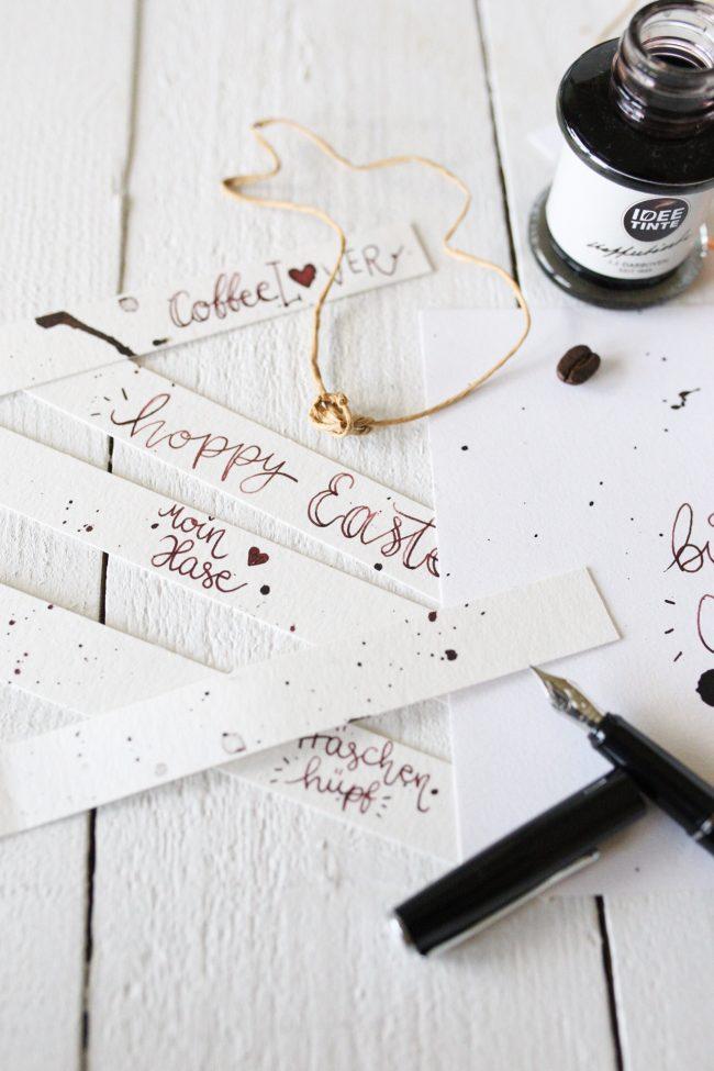 DIY Ostern Lettering mit IDEE TINTE Kaffeetinte